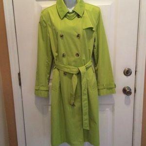 Dana Buchman Trench Coat Jacket Lime Green